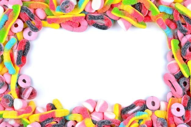 Frame van geassorteerde gummy snoepjes