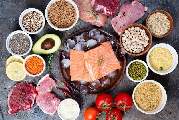 Frame van gezond voedsel selectie van schoon eten, inclusief bepaalde eiwitten, voorkomt kanker