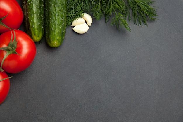Frame van groenten, kruiden. oogst, culinaire, herfst achtergrond. kopieer ruimte