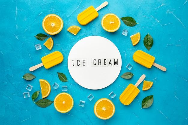 Frame van ijs met sinaasappelsmaak