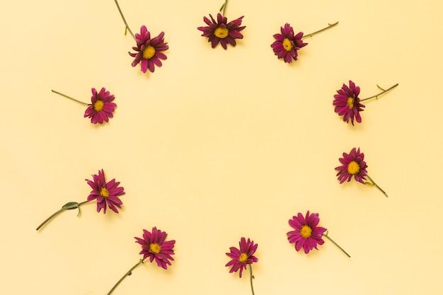 Frame van kleine roze bloemen op tafel