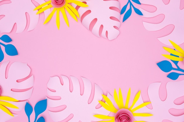 Frame van kleurrijke bloemen en bladeren