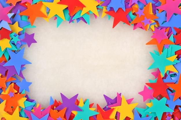 Frame van kleurrijke sterren Premium Foto