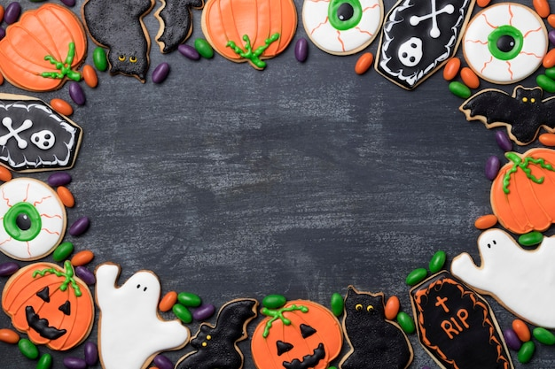 Frame van lekkernijen voor halloween-feest