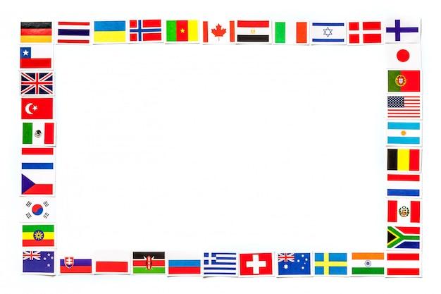 Frame van nationale vlaggen de verschillende landen van de geïsoleerde wereld