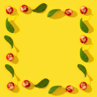 Frame van rijpe kleine rode appels en groene bladeren op geel. voedsel frame