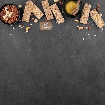 Frame van suikervrije snackbars boven weergave