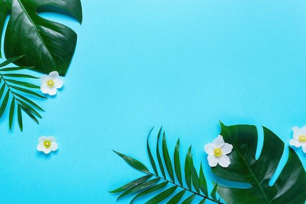 Frame van tropische bladeren monstera en palm op roze achtergrond. bovenaanzicht, plat gelegd.