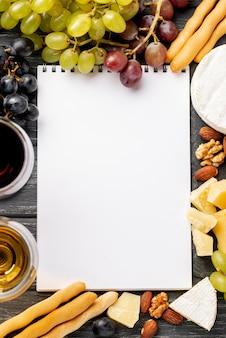 Frame van wijn en snack voor wijnproeven