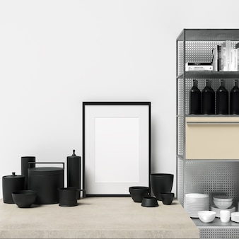 Framemodel op keukenkast met decoraties