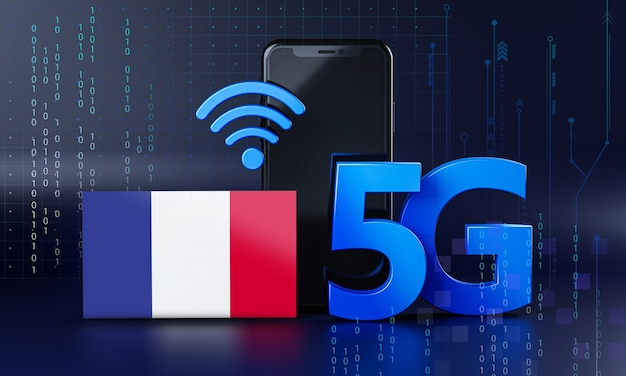 Frankrijk klaar voor 5g-verbindingsconcept. 3d-rendering smartphone technische achtergrond