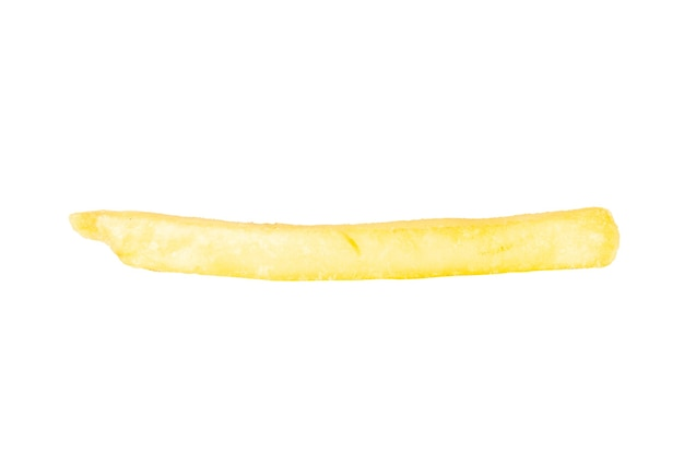 Franse frietjes single geïsoleerd op een witte achtergrond.
