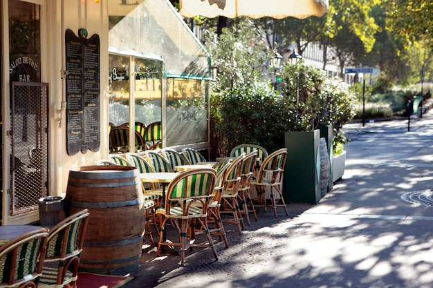 Franse restaurantscène, parijs frankrijk, stoepkoffie
