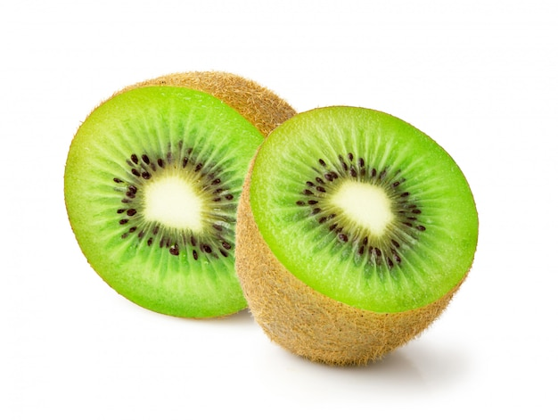 Fress kiwi fruit gesneden helft op witte achtergrond