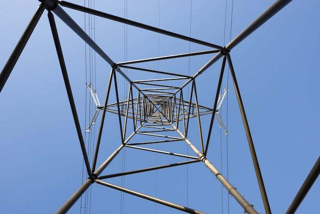 Frog's eye view van een elektrische paal tegen een heldere blauwe hemel