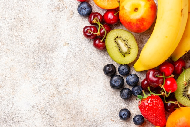 Fruit en bessen zomer achtergrond