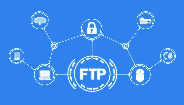 Ftp. protocol voor bestandsoverdracht. internetten. technologie
