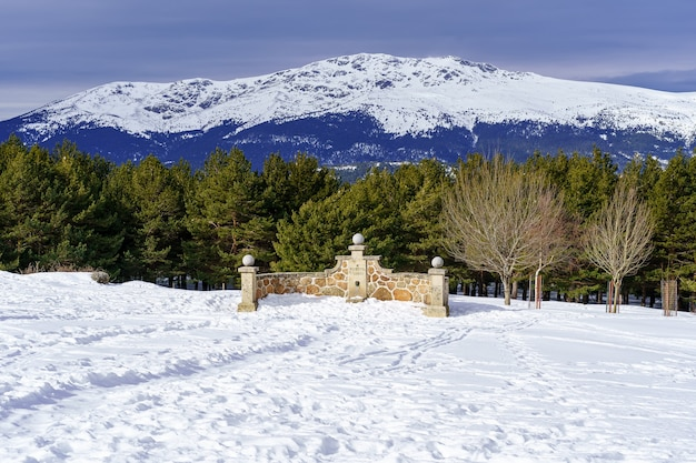 Fuente de piedra en la montaã ± a con paisaje nevado and arboles alrededor. la morcuera.
