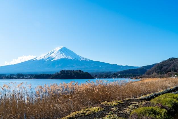 Fuji-berg met kawaguchiko-meer en blauwe hemel