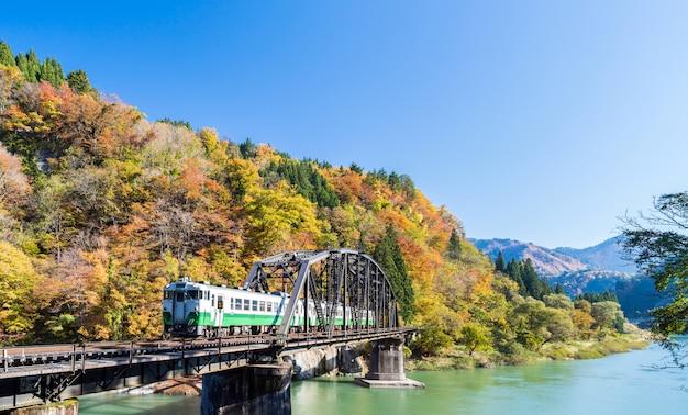 Fukushima black bridge tadami river japan