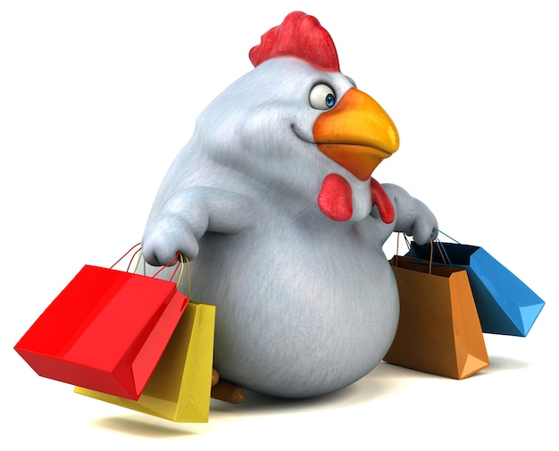 Fun chicken - 3d illustratie
