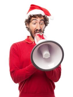 Funny man met behulp van een megafoon