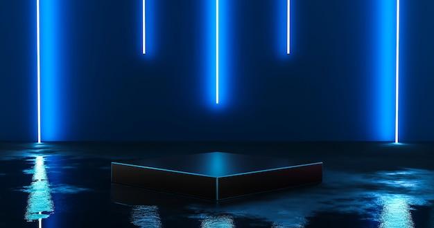 Futuristisch blauw neonlichtproduct als achtergrondstadium of podiumvoetstuk op de vloer van de grungestraat met gloedschijnwerper en leeg weergaveplatform. 3d-weergave.