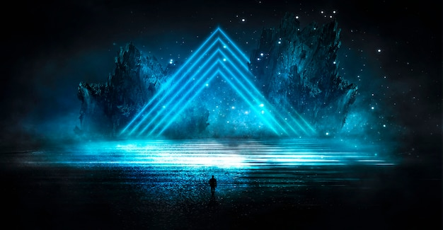 Futuristisch fantasie abstract nachtlandschap met glans van het eilandmaanlicht