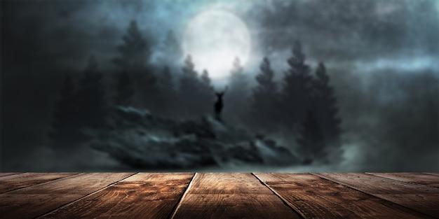 Futuristisch fantasie nachtlandschap met abstract landschap maanlicht glans donkere natuurlijke scène