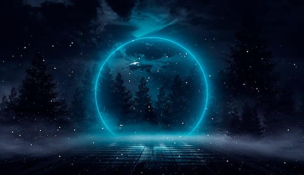 Futuristisch fantasienachtlandschap met abstracte eilanden en nachtelijke hemel met ruimtestelsels