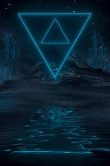 Futuristisch fantasienachtlandschap met lichtreflectie in water. neon space galaxy portal 3d-afbeelding