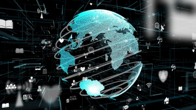 Futuristisch online internetnetwerk en internet of things iot-concept