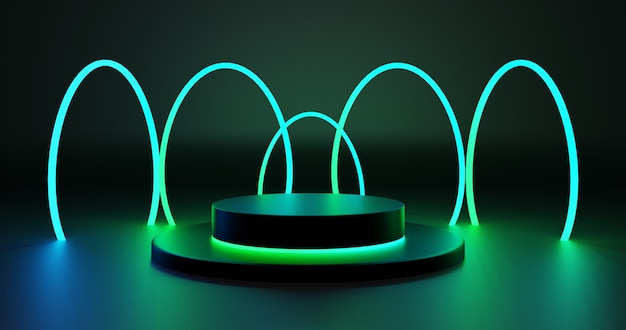 Futuristisch podium met groene neoncirkels