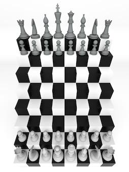 Futuristisch schaakbord in vogelvlucht. driedimensionale weergave