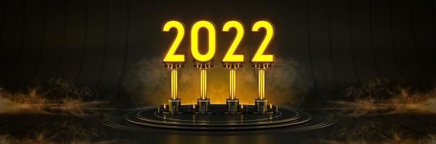 Futuristisch sci fi modern leeg grote zaal donker licht 2022 letterteken nieuwjaar 2022