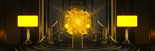 Futuristisch sci fi modern leeg grote zaal donkere ruimtetijd portaal licht