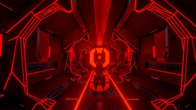 Futuristisch science fiction corridor gloeiend neonportaal