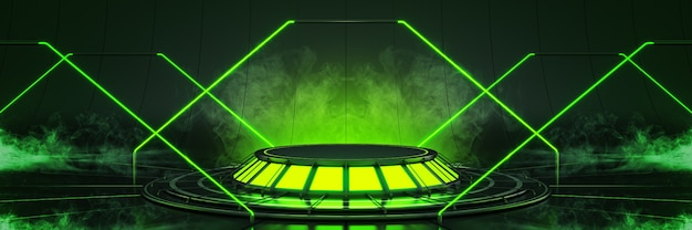 Futuristisch sciencefiction modern leeg grote zaal donker alien garage sciencefiction 3drendering