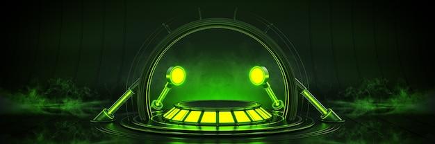 Futuristisch sciencefiction modern leeg grote zaal donker alien garage sciencefiction