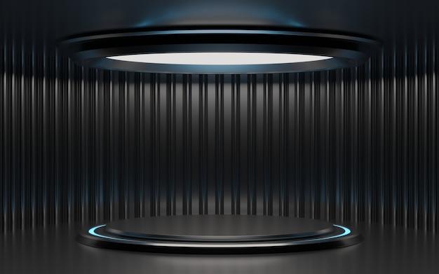 Futuristisch scifi metalen cilinderpodium met blauw en wit licht