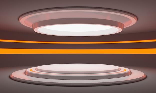 Futuristisch scifi wit cilinderpodium met oranje licht