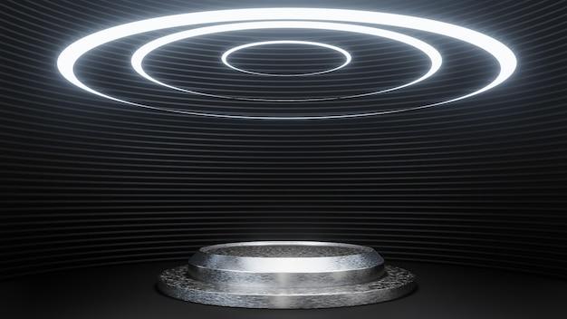 Futuristisch voetstuk voor productpresentatie op zwarte strookmuur sci-fi-stijl als achtergrond. , 3d-model en illustratie.