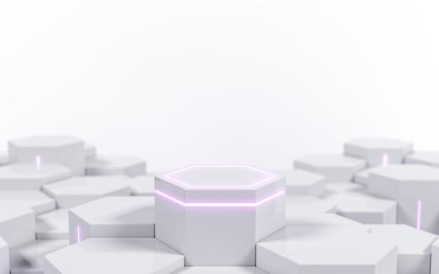 Futuristisch wit zeshoekig scifi-voetstuk met paars neonlicht voor display-productshowcase