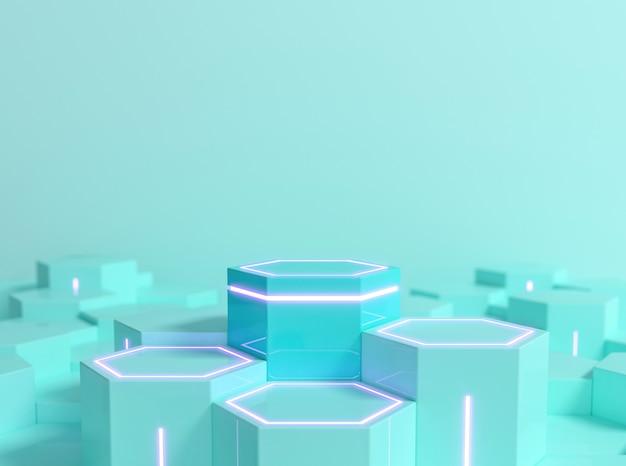 Futuristisch zeshoekig scifi-voetstuk in mintblauwe kleur met neonlicht voor display-productshowcase