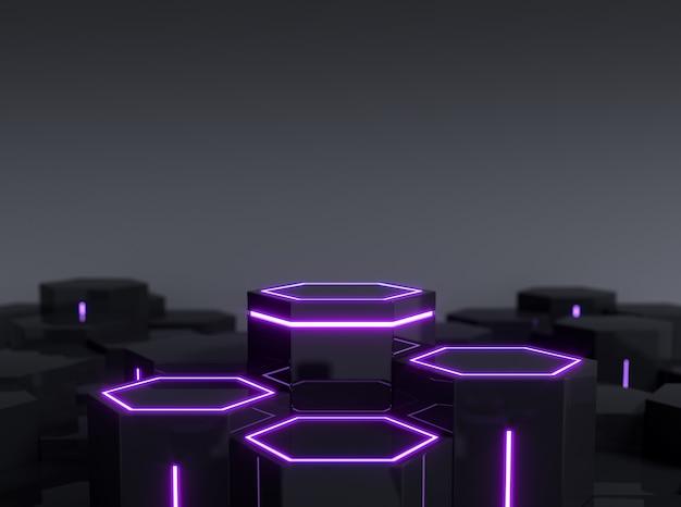 Futuristisch zwart zeshoekig scifi-voetstuk met paars neonlicht voor display-productshowcase