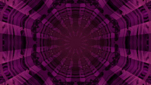 Futuristische 3d illustratie abstracte visuele achtergrond binnenkant van donkere paarse tunnel met geometrische glas reflecterende muren en rond gat