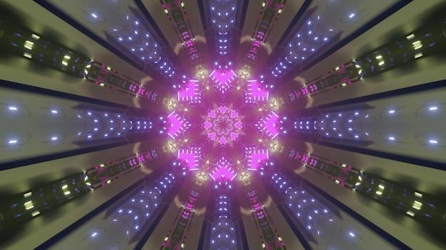 Futuristische 3d illustratie van abstracte achtergrond met paars neon verlicht patroon met stralen