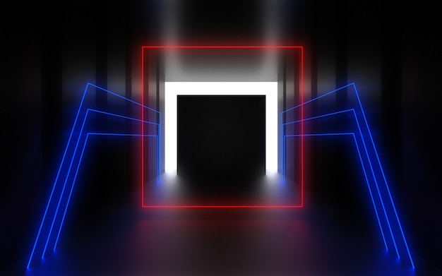 Futuristische abstracte achtergrond. kamer met neonlicht. 3d illustratie