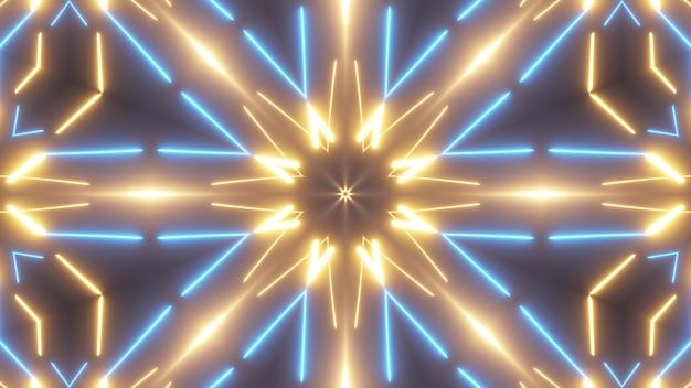 Futuristische abstracte heldere caleidoscoop met lichtgevende lijnen