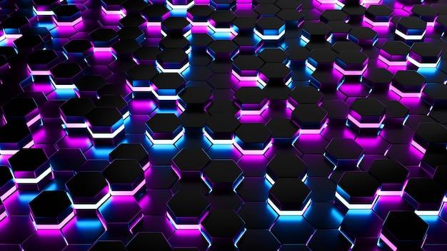 Futuristische abstracte zeshoek raster achtergrond 3d rendering neon gloed